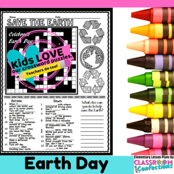 Earth Day Crossword Puzzle by Elementary Lesson Plans | TpT