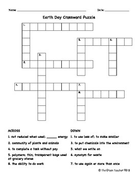 Earth Day Crossword Puzzle - Answer Key Included