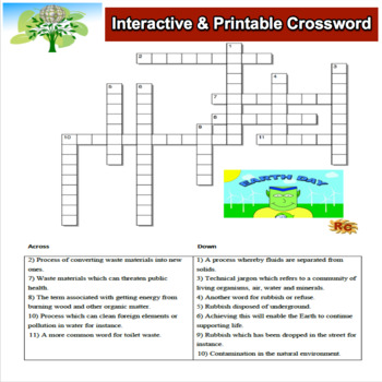 image relating to Earth Day Crossword Puzzle Printable called Globe Working day Crossword Puzzle Quality 6-10