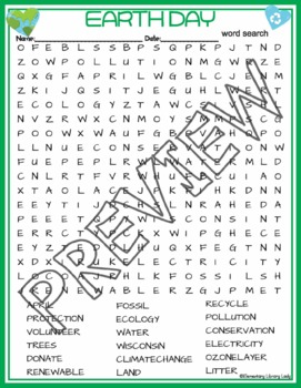 Earth Day Activities Crossword Puzzle and Word Search Find