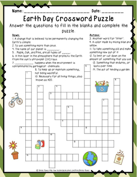 Earth Day Crossword Puzzles