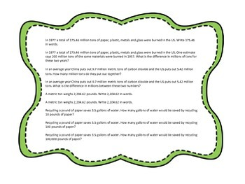 Earth Day Decimal Word Problem Task Cards