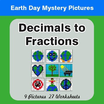 Earth Day: Decimals To Fractions - Color-By-Number Mystery Pictures