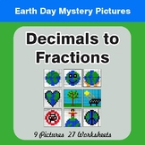 Earth Day: Decimals To Fractions - Color-By-Number Mystery