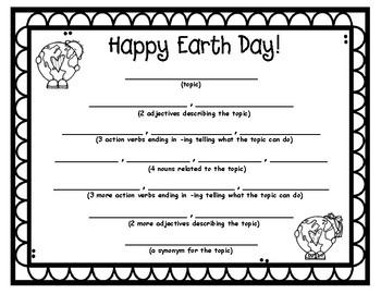 Earth Day Diamante Poem Frame