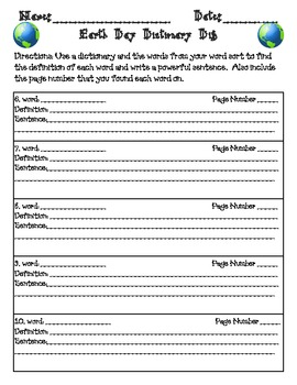 Earth Day Dictionary Dig and Writing Tasks