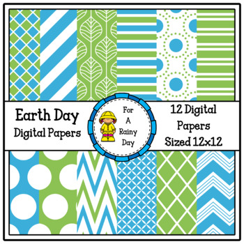 Earth Day Digital Paper-with globe clipart (Green & Blue)