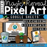 Earth Day Digital Pixel Art Magic Reveal ADDITION & SUBTRACTION