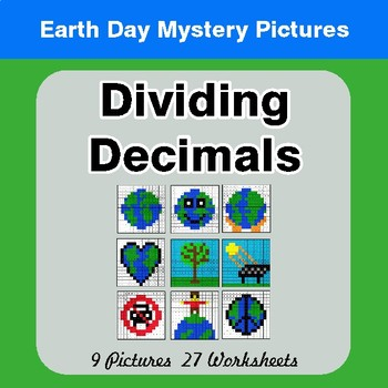 Earth Day: Dividing Decimals - Color-By-Number Mystery Pictures
