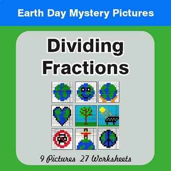 Earth Day Dividing Fractions - Color-By-Number Mystery Pictures