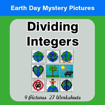 Earth Day: Dividing Integers - Color-By-Number Mystery Pictures