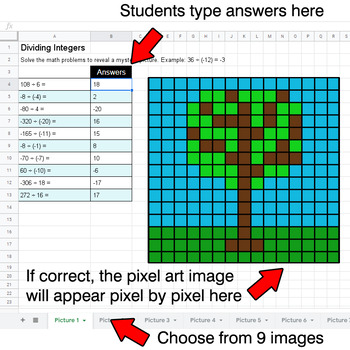 Earth Day - Dividing Integers - Google Sheets Pixel Art