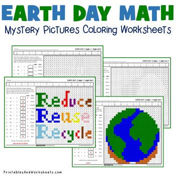 Earth Day Division Worksheets, Math Mystery Pictures