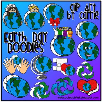 Earth Day Doodles (BW and full-color PNG Images)
