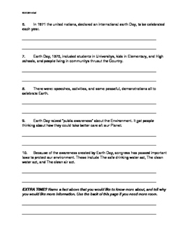 Earth Day ELA Morning Work, Writing Prompt, Fun - Grades 4,5,6