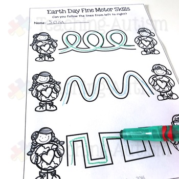 Earth Day Fine Motor Skill Worksheets
