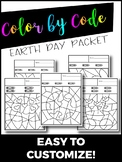Earth Day Editable Color by Number or Color by Code Packet