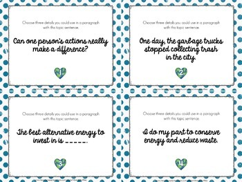 Earth Day Writing Task Cards