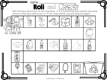 Earth Day Emergent Reader and Roll and Recycle Game