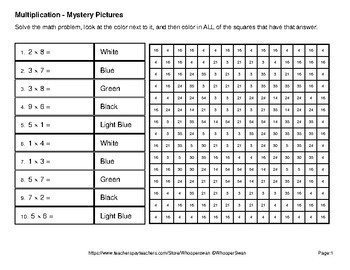 Earth Day Emoji: 1-digit Multiplication - Color-By-Number Mystery Pictures