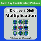 Earth Day Emoji: 1-digit Multiplication - Color-By-Number