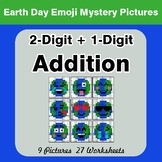 Earth Day Emoji: 2-digit + 1-digit Addition - Color-By-Num
