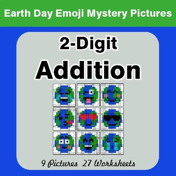 Earth Day Emoji: 2-digit Addition - Color-By-Number Mystery Pictures