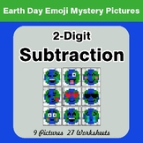 Earth Day Emoji: 2-digit Subtraction - Color-By-Number Mys