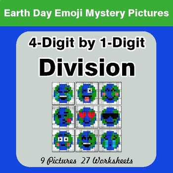 Earth Day Emoji: 4-digit by 1-digit Division - Color-By-Number Mystery Pictures