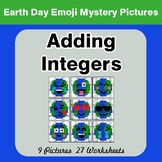 Earth Day Emoji: Adding Integers - Color-By-Number Mystery