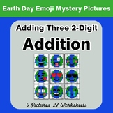 Earth Day Emoji Adding three 2-digit Addition - Color-By-N