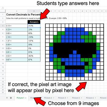 Earth Day Emoji - Convert Decimals to Percents - Google Sheets Pixel Art