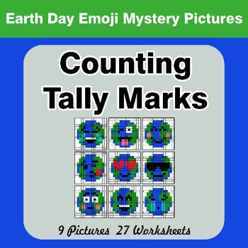 Earth Day Emoji: Counting Tally Marks - Math Mystery Pictures / Color By Number