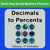 Earth Day Emoji: Decimals to Percents - Color-By-Number My