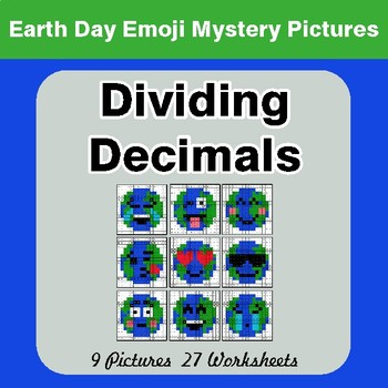 Earth Day Emoji: Dividing Decimals - Color-By-Number Mystery Pictures