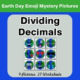 Earth Day Emoji: Dividing Decimals - Color-By-Number Myste