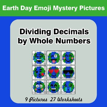 Earth Day Emoji: Dividing Decimals by Whole Numbers - Math Mystery Pictures
