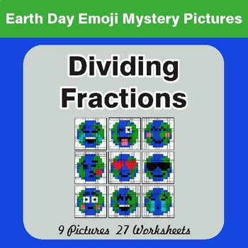 Earth Day Emoji: Dividing Fractions - Color-By-Number Mystery Pictures