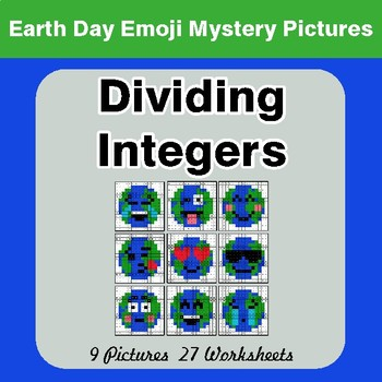 Earth Day Emoji: Dividing Integers - Color-By-Number Mystery Pictures