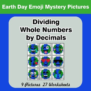 Earth Day Emoji: Dividing Whole Numbers by Decimals - Math Mystery Pictures