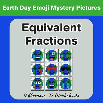 Earth Day Emoji: Equivalent Fractions - Color-By-Number Mystery Pictures