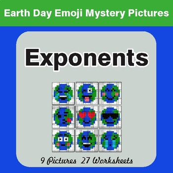 Earth Day Emoji: Exponents - Color-By-Number Mystery Pictures
