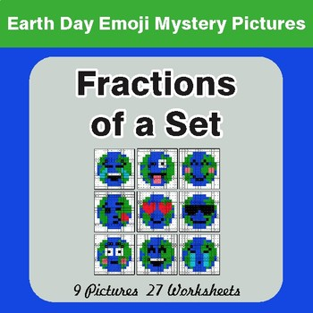Earth Day Emoji: Fractions of a Set - Color-By-Number Mystery Pictures