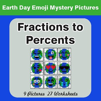 Earth Day Emoji: Fractions to Percents - Color-By-Number Mystery Pictures