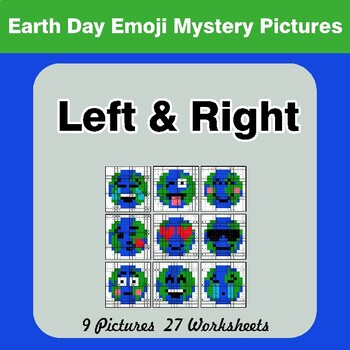 Earth Day Emoji: Left & Right side - Color by Emoji - Mystery Pictures