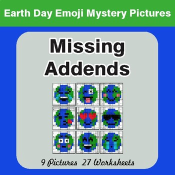Earth Day Emoji: Missing Addends - Color-By-Number Mystery Pictures