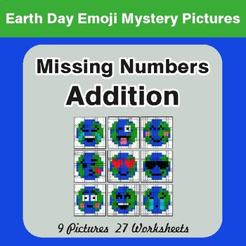 Earth Day Emoji: Missing Numbers Addition - Color-By-Number Mystery Pictures