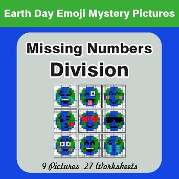 Earth Day Emoji: Missing Numbers Division - Color-By-Number Mystery Pictures