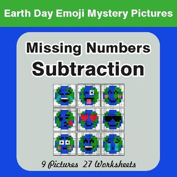 Earth Day Emoji: Missing Numbers Subtraction - Color-By-Number Mystery Pictures
