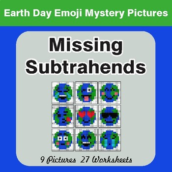 Earth Day Emoji: Missing Subtrahends - Color-By-Number Mystery Pictures